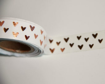 Copper Hearts Washi Tape Metallic Foil Mini Heart on White Background Decorative craft roll 5 yard Planner crafts planners wedding valentine