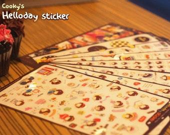 Helloday Sticker Set -  Masking Sticker Set - Diary Stickers - Deco Sticker Set - 8 sheets