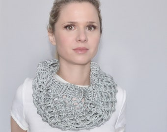 Cotton gray lace scarf