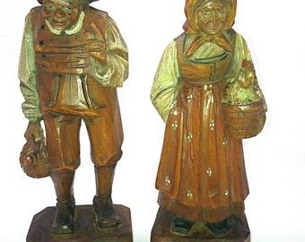 Vintage D'Indri Anri Wood Carved Couple Folk Art Italy