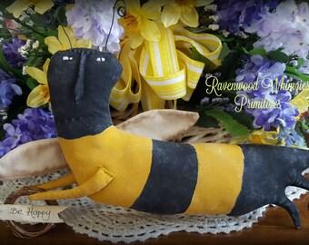 primitive bee, prim bee, primitive summer, bee, summer bee, primitive summer bee, primitive bug