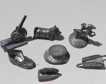 Vintage Monopoly Metal Pieces Top Hat Iron Cannon Cowboy Shoe Vintage Game Pieces Vintage Games