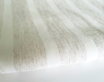 """Cream & Beige Stripe Fabric, Silk Blend, 60"""" Wide, Cotton Poly Silk Woven Fashion Fabric, Sewing Craft Home Dec Fabric, BTY or By the Piece"""