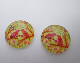 2 birds in love 16 mm round glass cabochons
