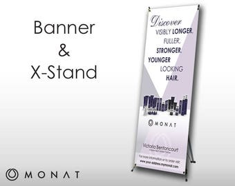 Monat Vertical Banner with Stand and Carrying Case - White with Purple Design -PRINTED and SHIPPED directly to YOU!