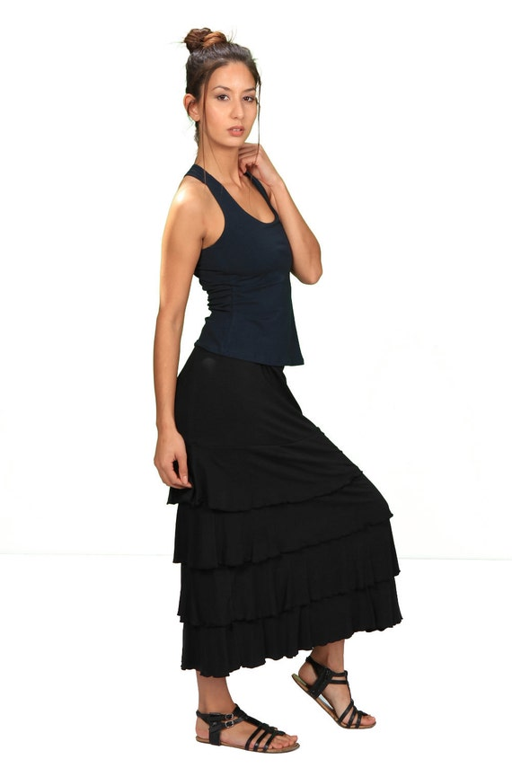 Spring Sale! Lydia Long Ruffle Maxi Skirt In Black by Paramita Designs
