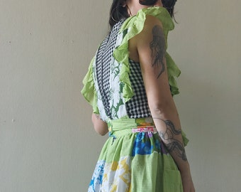 Vintage Lime Green Patchwork Ruffle Pinafore OSFM
