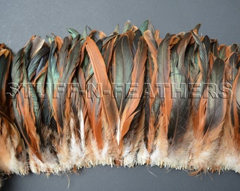Wholesale / bulk feathers - natural rooster iridescent brown tail feathers long HALF BRONZE Coque feathers / 8-10 in (20-25cm) long/ FB141-8