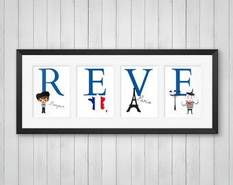 French Decor - Personalized Name Print - Boys Room Decor - French Wall Art - French Poster - French Nursery - Individual 4x6, 5x7, 8x10