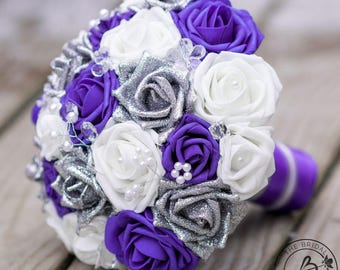 Purple wedding bouquet, bridal bouquet, purple and silver bouquet, glitter roses bouquet, alternative non traditional wedding bouquet