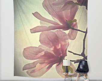 Magnolia Tapestry, Flower Tapestry, Floral Large Wall Decor, Photo Tapestry, Modern Decor, Wall Hanging, Nature, Form, Office, Botanical