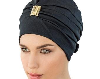 Retro Style Swim Cap - Fashy Turban Swim Hat - Black with Gold & Diamante Swimming Hat - Swim Cap - One Size  - Vintage Style Swim Cap