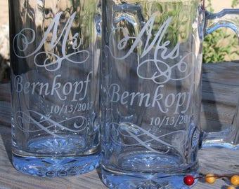 Mr & Mrs mugs, beer mugs, Wedding mugs, Bridal party mugs, Couples mugs, Wedding gift, Anniversary gift, Bride and Groom