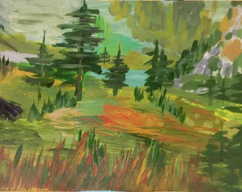 Abstract Painting Acrylic Painting Landscape Autumn Landscape Wall Art Modern Art