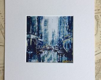 Cityscape art print, a street scene, mounted, ready to frame