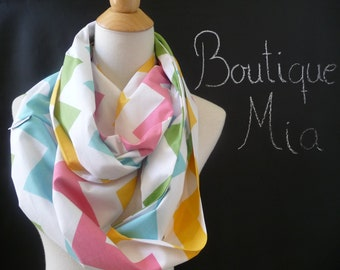 Infinity SCARF - Riley Blake - Pastel Chevron - by Boutique Mia