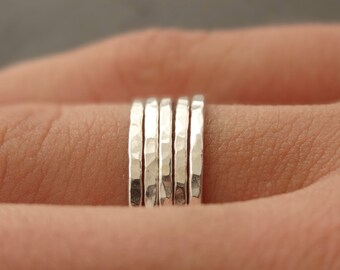 Silver Rings set of 5 925 Sterling Silver Stacking Rings five thin hammered stackable rings thumb rings bridesmaid gifts