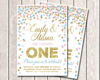 Twins First Birthday Invitations Printable Twin 1st Birthday Invites Pink And Blue Confetti Invitation 2nd 3rd 4th 5th Any Age Invitations