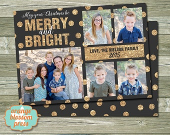 Photo christmas card peace on earth colorful dots religious glitter dots christmas card photo christmas holiday card printable christmas card modern holiday card multiple photos costco size m4hsunfo