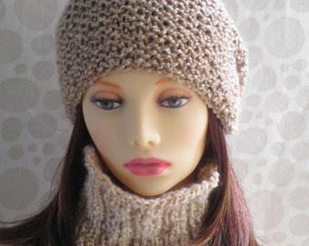 KNITTING PATTERN/ OCEAN/ Womans Slouchy Knit Hat/ Boucle yarn/ Womans Knit Beanie Slouchy Hat pattern/Womans Slouch Beanie/Knit Round