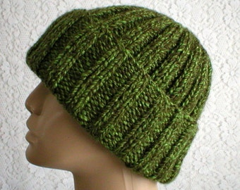 Green tweed watch cap, beanie hat, longshoremens cap, knit hat, toque, slouchy hat, green hat, mens womens hat, chemo cap, ski hiking hat