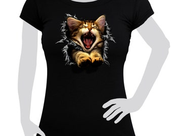 Ladies T-shirt printed with Cat 3D