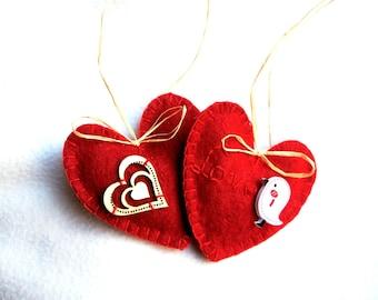 Heart ornament  felt set of 2, red heart, Valentine's day, Mother's day gift,  Birthday gift, Wedding  decor, home decor, Chrismas ornament