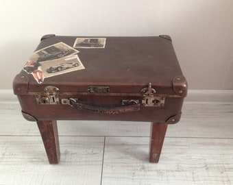 Vintage suitcase end table - Handmade Suitcase table - Suitcase Side Table - Suitcase table - Antique Suitcase Coffee Table