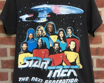 Vintage Star Trek the new generation t shirt 1991 treky
