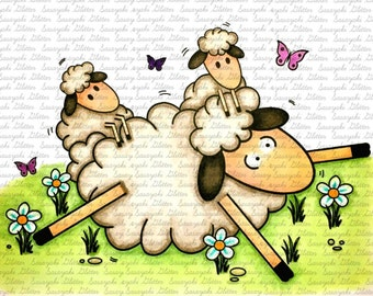 Mother's day Sheep Digital Stamp By Sasayaki Glitter