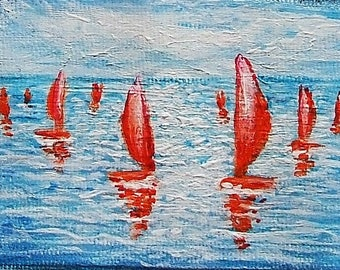 original aceo red sails seascape abstract art abstract aceo sea art red blue white painting gift for friends girl present fine art red boats