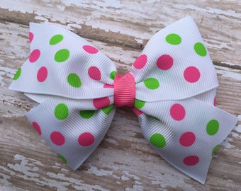 Girls hair bows - pink & lime polka dot hair bow, hair bows, bows, hair clips, hair bows for girls, baby bows, toddler hair bow, girls bows