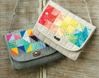 The Spring Sling PDF Sewing Pattern:  Sew a quilted cross-body bag with pockets and an adjustable strap.