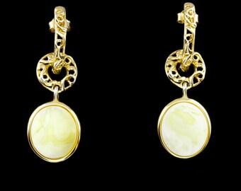 Statement Earrings, 925 Sterling Silver Earrings, Gemstone Statement Earrings, Amber Gemstone 925 Sterling Silver Earrings, Amber Jewelry
