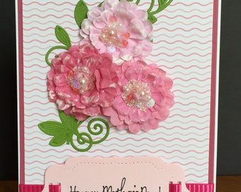 Handmade Elegant Mother's Day Card with 3D Fabric Flowers and Pearls-Happy Mother's Day Card with Flowers, Pearls, Sequins and Glitter