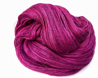 """Kettle Dyed Lace Yarn, Baby Alpaca, Silk, and Cashmere Lace Weight, in """"Raspberry"""""""