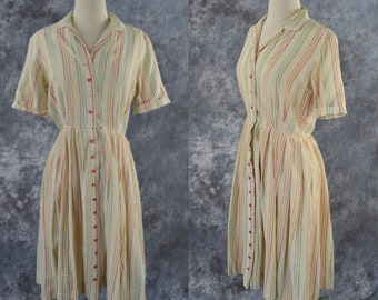 1950s Ivory Shirtwaist Dress with Embroidered Vertical Stripes by Bobbie Brooks