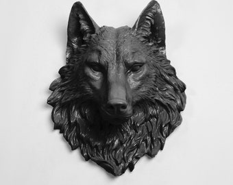 Faux Wolf Head The Lincoln in Black -- Resin Wolf Mount by White Faux Taxidermy - Chic & Trendy Faux Animal Heads