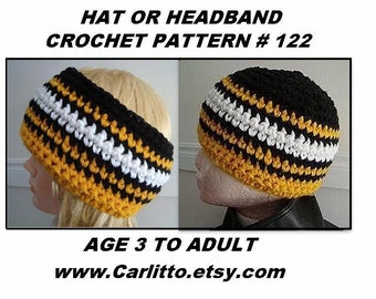 hat crochet PATTERN - Headband, team hat, men, women, children - Easy beginner level pattern, clothing, accessories, crochet supplies, # 122