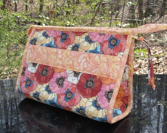 READY to SHIP-Open Wide Bag-MEDIUM-Perfect as a Sewing Kit, Lingerie Bag, Cosmetic/Toiletry Bag-Poppy, Pink, Red, Orange, Peach, Blue