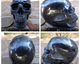 "2.03"" 6.1oz 172.1g Hematite Skull Realistic Crystal Healing Magick Metaphysical Mystic Reiki Wicca Altar Silver Large 2 inch SK2767"