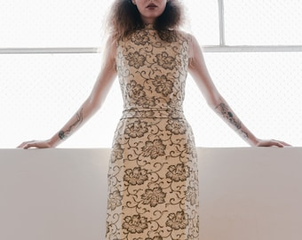 Vintage 1960s Mancini Gold and silver brocade dress