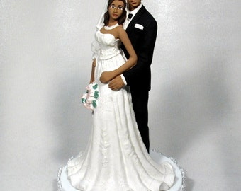 Bald African American Groom with Bride 49ABG Bald
