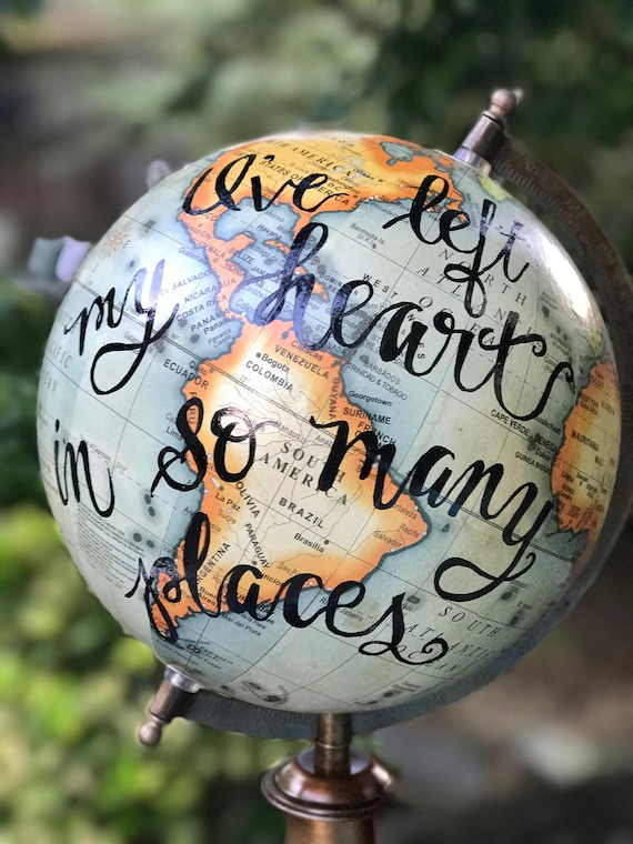 Custom Calligraphy Globe / Your Choice of Wording / Antique Colored World Globe / Custom Calligraphy Options Available