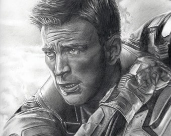 Drawing of Captain America (Chris Evans) from Captain America: The Winter Soldier