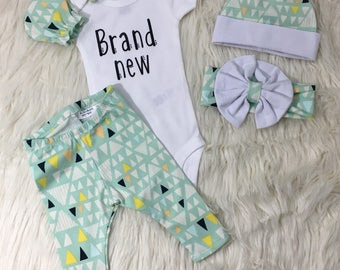 Gender neutral coming home outfit, gender neutral home coming, brand new outfit, team green baby outfit, unisex baby clothes