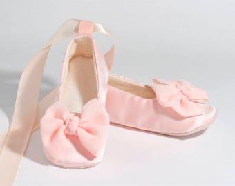 Blush Satin Flower Girl Shoe 23 colors, Easter Baby Ballet Flat Toddler Ballet Slipper, Girls Blush Wedding Shoe, Spring Wedding, Baby Souls