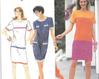 Sectioned Tiered Slim Dress Sewing Pattern Simplicity 7868 Size 6 to 12 Bust 30 1/2 to 34