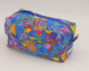 Rainbow Fish Bag, Fish Travel Bag, Zip Pouch, Ditty Bag, Toiletry Kit, Pencil Case, Toy Bag, Shave Kit, Coastal Case, Fisherman Gifts