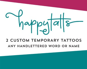 personalized temporary tattoos handlettered word or name tattoos romantic valentines day gift cursive script typography custom fake tattoos